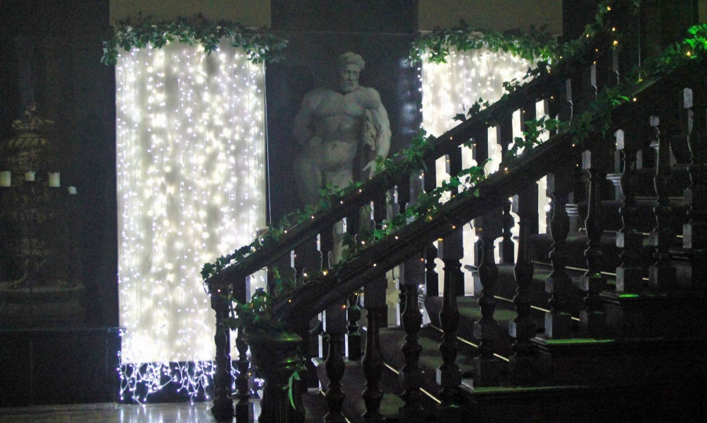 Combination of Curtain lighting and bannister fairy-lights with foliage