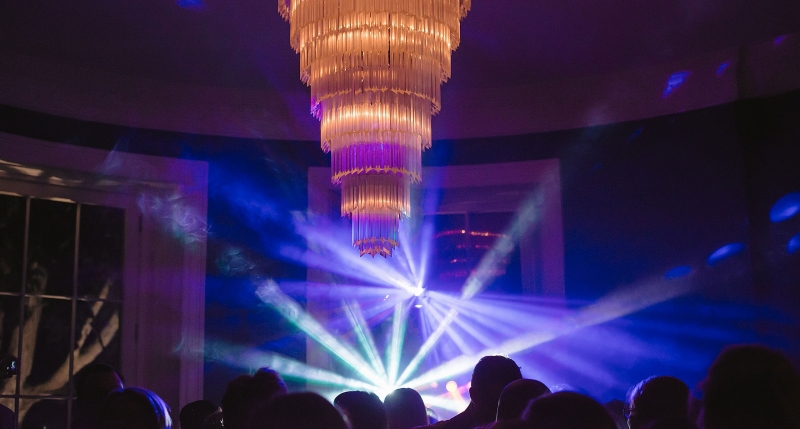 Image of DJ lighting at a wedding party in the bar at a Babington House wedding.