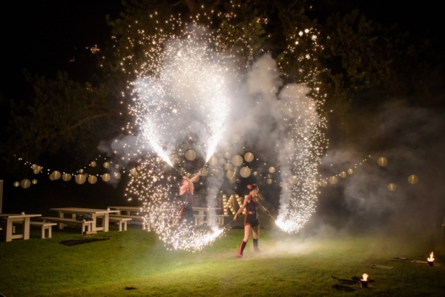 Oooh, that's nice. Fire Performers and our tree lighting at a recent wedding. Ria Mishall Photography