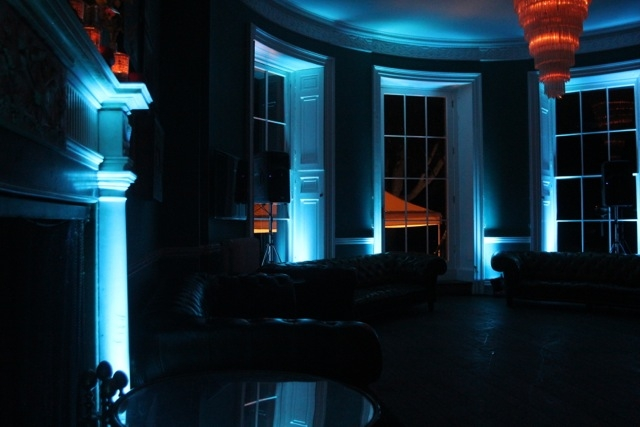 Blue LED lighting transforming the beautiful bar at Babington House.