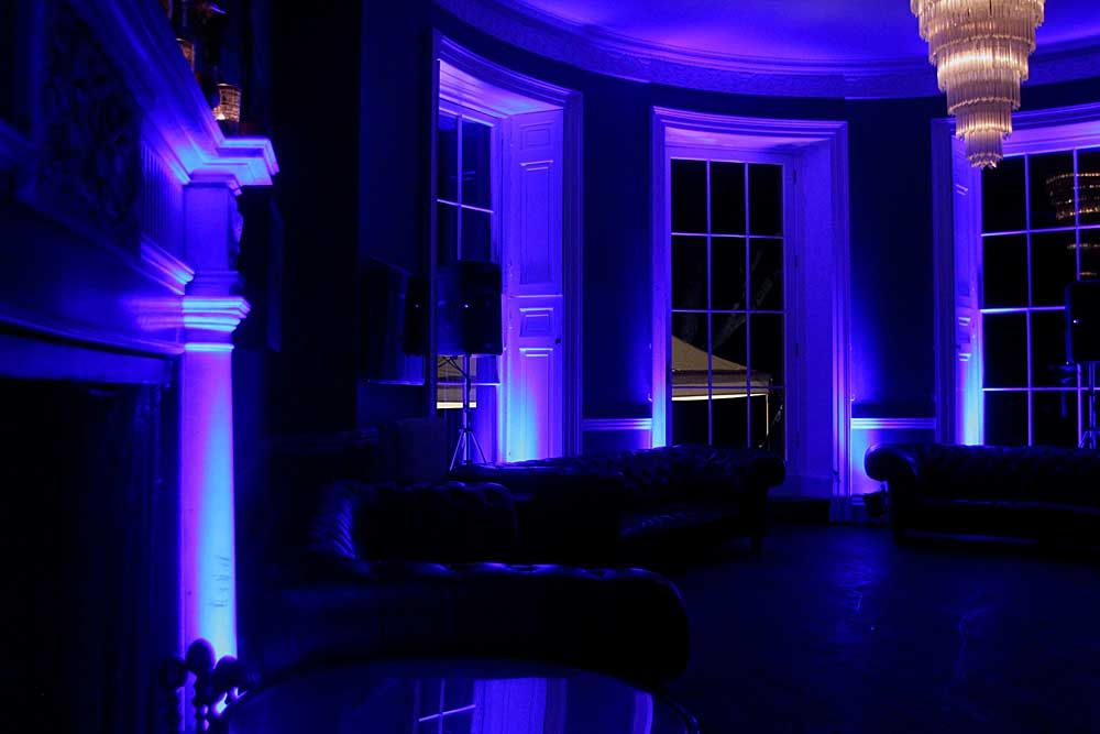 Babington House Bar with additional LED up-lighting.