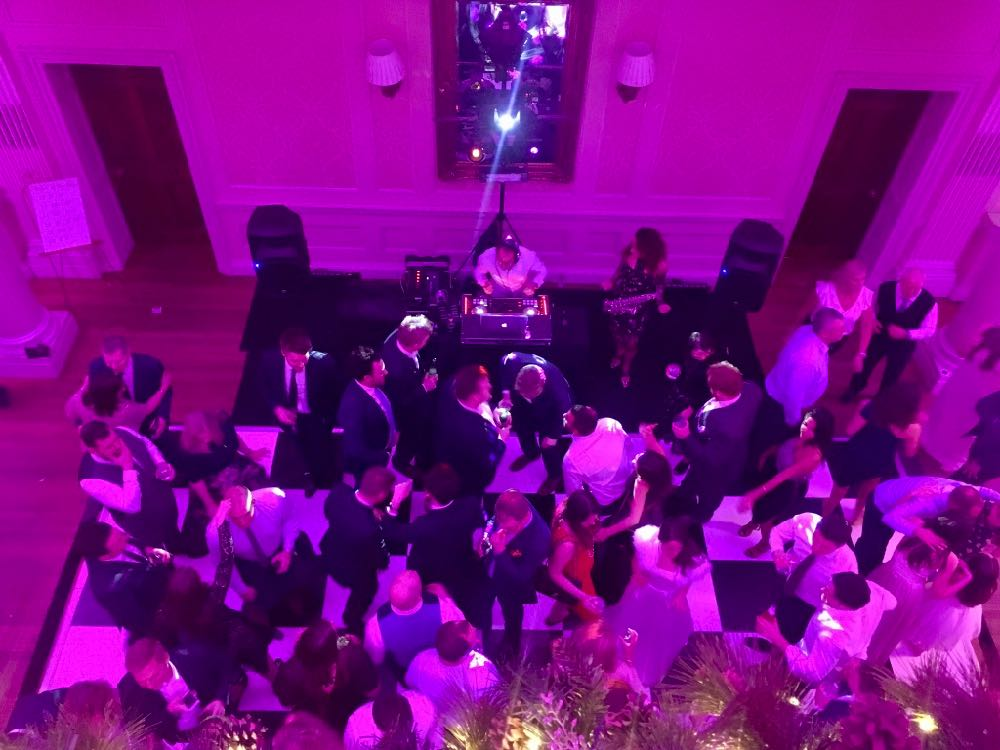 Hedor House near Taplow with people dancing at a wedding