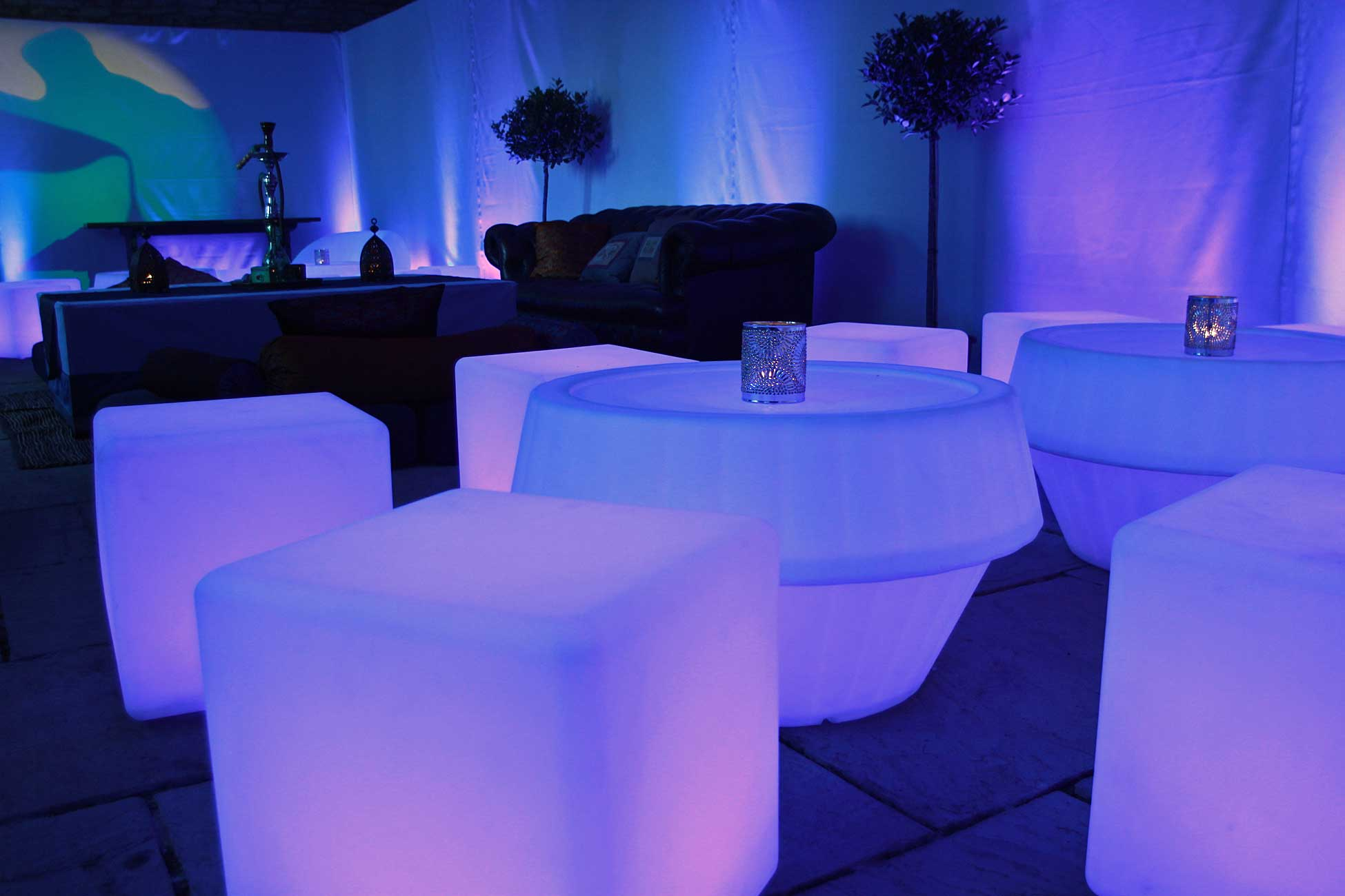 Image of LED furniture with Shisha Pipes and topiary