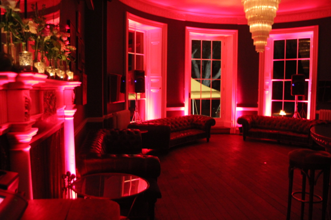 Image of the bar at Babington House with Red LED lighting.