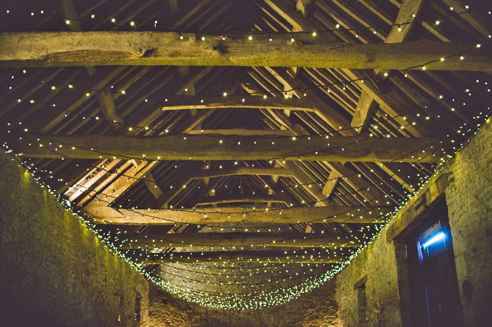 Rustic Barn with Wedding Lighting