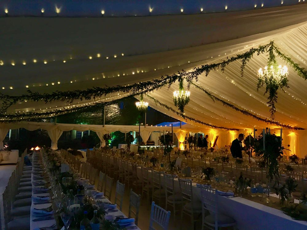 Marquee wedding interior.