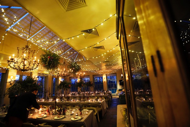 Image of a fairy-light canopy installed at Babington House