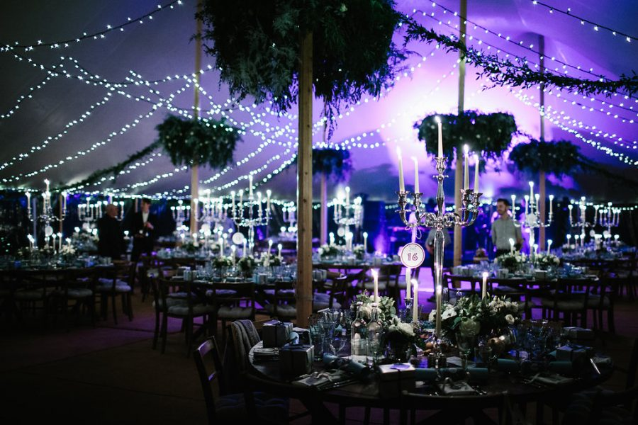 Sperry Tent interior with additional fairy-light canopy