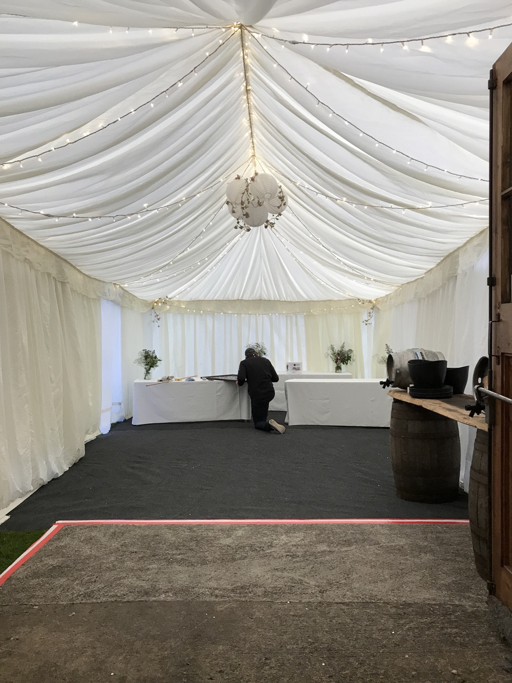 Marquee attached to Mells Barn in Somerset