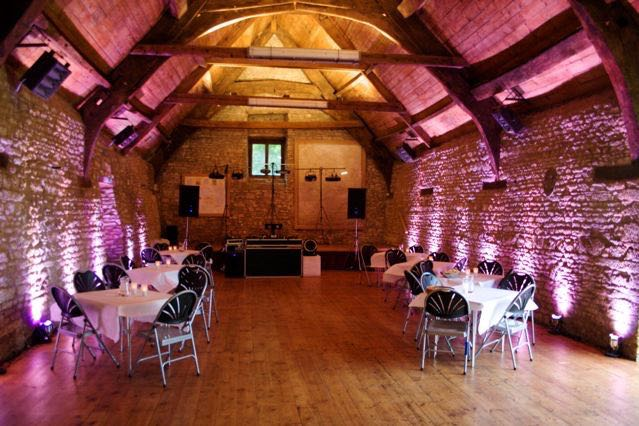 Mells Barn with LED up-lighting raedy for a party