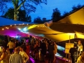 Beautiful stretch marquee with DJ, Sax and Bongos filling the dance-floor on the Wentworth Estate in Surrey.