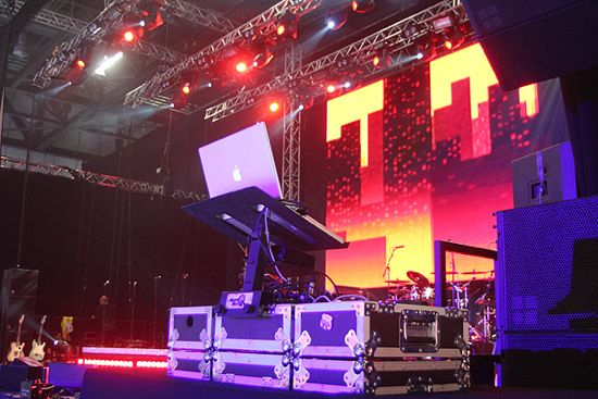 Image of Dj decks and staging at the Excel