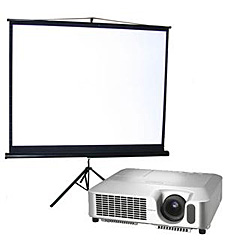 Image of a projector and screen