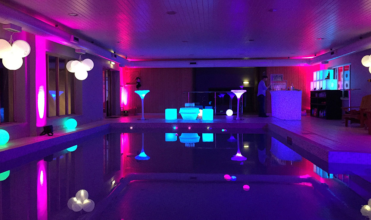Swimming pool transformed for a party.