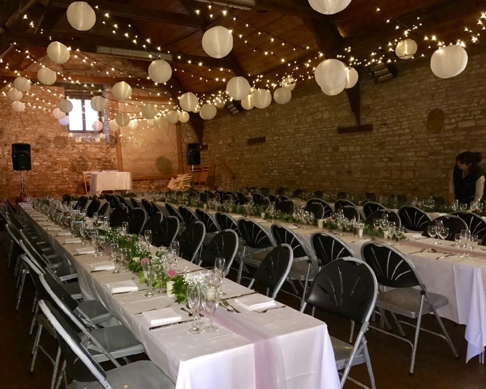 The barn in Mells Dressed for A Wedding Reception