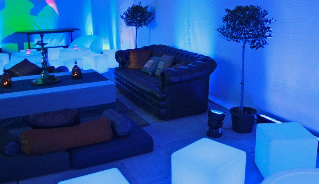 Brympton House in Somerset with a makeover of LED furniture, lighting and cushions for a wedding party