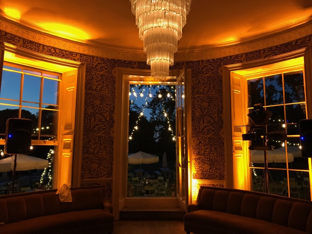 Amber LED up-lighting at Babington House