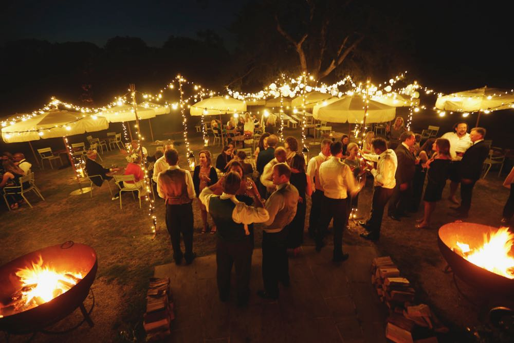 Wedding Lighting Canopy with large fire-pits
